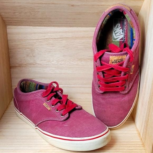 Vans Mens Burgundy Canva Sneakers Shoes Ultracush
